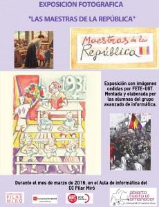 Cartel Exposición 'Las Maestras de la República' en el Centro Cultural Pilar Miró