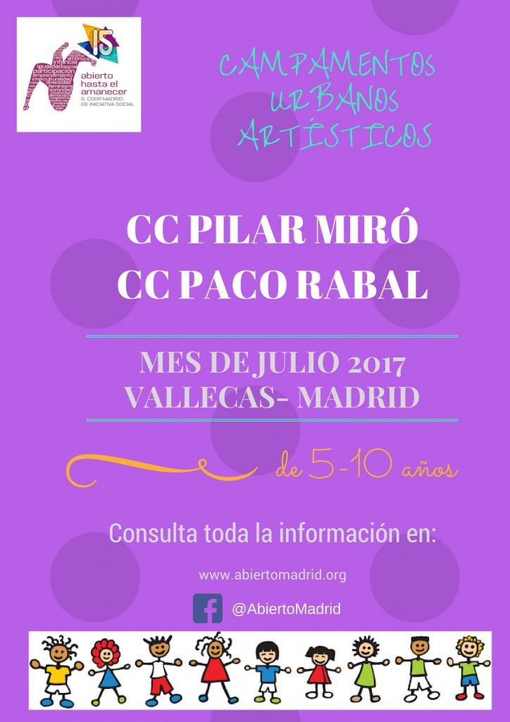 Cartel Campamento urbano Pilar Miró Paco Rabal Abierto hasta el amanecer