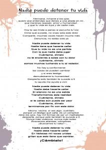 Letra de la canción Nadie puede detener tu vida